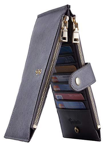 Travelambo Womens Walllet RFID Blocking Bifold Multi Card Case Wallet with Zipper Pocket Crosshatch (Grey Steel 4122)