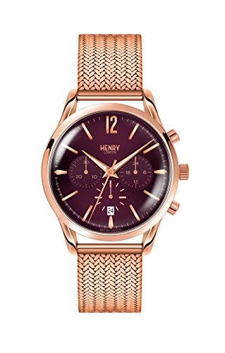 Henry London Unisex Chronograph Quarz Uhr mit Edelstahl Armband HL39-CM-0088