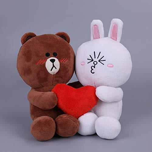 siqiwl Peluche 20cm 2pcs / Pair Brown Bear Y Bunny Cony Dolls con Corazón para Regalo De Boda Hombre Oso Y Mujer Conejo Peluches para Novia Y Novio