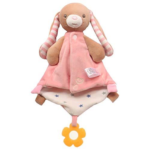 SLCE Doudou Bebe, con Mordedor, Manta De Seguridad para Bebés Mantitas De Arrullo Peluche Animal Felpa, Bebés De Conejo Mantitas De Arrullo Juguete para Bebé Recién Nacidos,Rabbit