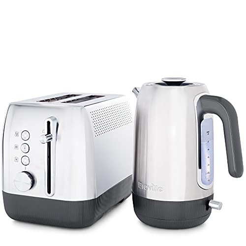 Breville Edge Stainless Steel Kettle & Toaster Set   1.7 Litre, 3KW Electric Kettle with Still-Hot Illumination & 2-Slice High-Lift Toaster with Deep Slots   Brushed Stainless Steel (Silver)