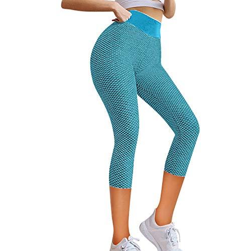Mallas Push up Mujer Leggings Deportivos Pantalones Largos Cintura Alta Leggins con Bosillos para Yoga Fitness Running Pilates Elástico yTranspirable no Transparente