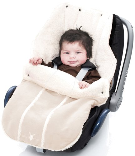 Wallaboo Fußsack, Universal für Babyschale, Autositz, z.B. für Maxi-Cosi, Römer, für Kinderwagen, Buggy oder Babybett, Farbe: Ecru