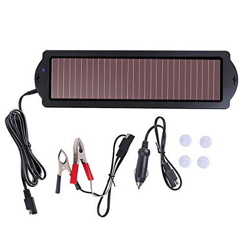 Betop-camp Paquete de Cargador de Batería para Automóvil con Energía Solar, Enchufe para Encendedor de Cigarrillos y Línea de Carga para Cargar la Batería (1.5 Vatios), Negro