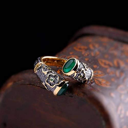WOZUIMEI Ringschmuck im Chinesischen Stil Damen-Lackierung Epoxy S925 Ring aus Reinem Silber, Grüner Achatringgrüner Achat