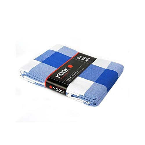 KOOK tafelkleed ruit gecoat-blauw