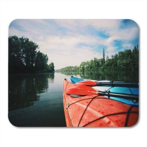 Not Applicable Alfombrillas de ratón Actividad Azul Activo Kayaking Lake Sport Kayak Rocky Shore Alfombrilla de ratón para portátiles, Alfombrillas de Escritorio Material de Oficina