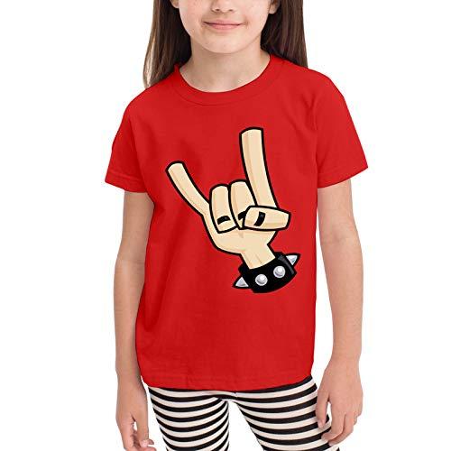 Heavy Metal Devil Horns Hand Camisetas gráficas para niñas Adolescentes, niños y niñas, Camiseta de Manga Corta, Camisetas de algodón, Camisetas para niños, Tops 2-6t