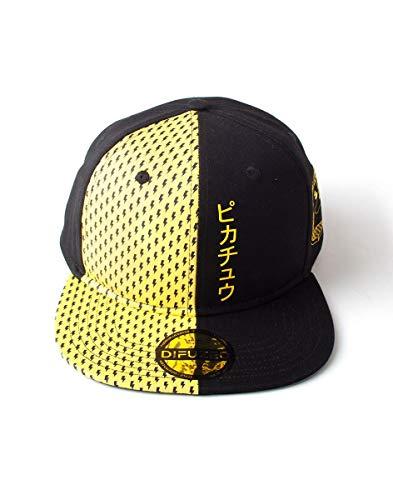 Bioworld Pokemon Pikachu czapka baseballowa z daszkiem, czarna (czarna czarna), jedna (rozmiar: regulowana)