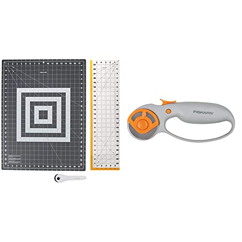 Fiskars Crafts 952301010 Rotary Sewing Cutting Set (3 Piece), Grey & Classic (45mm) Comfort Loop Rotary Cutter, 1, steel and orange
