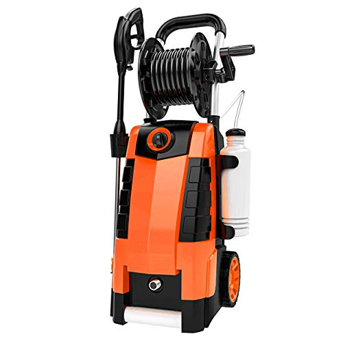TEANDE 3800PSI Electric Pressure Washer, MAX 2.8GPM Electric Power Washer 1800W High Pressure Washer with Hose Reels MR3800 (Orange)