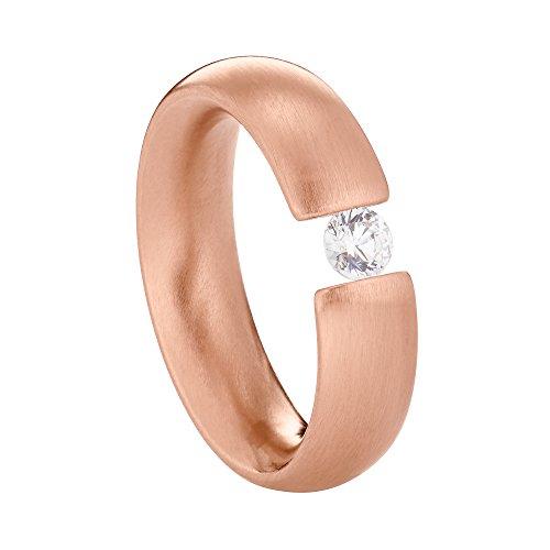 Heideman Ring Damen Intensio aus Edelstahl Rosegold farbend matt Damenring für Frauen mit Swarovski Stein Zirkonia Weiss im Brillant Schliff 4mm