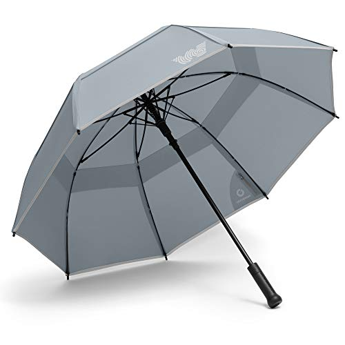 Weatherman Umbrella - Stick Umbrella - Windproof Umbrella Resists Up to 55 MPH Winds - Available in 6 Colors (Gray)