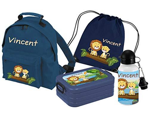 Mein Zwergenland   Personalisertes Kindergartenrucksack-Set   Kinderrucksack Classic mit Name   Lunchbox Maxi mit Name   Turnbeutel mit Name   Personalisierte Trinkflasche   Navy   Löwen