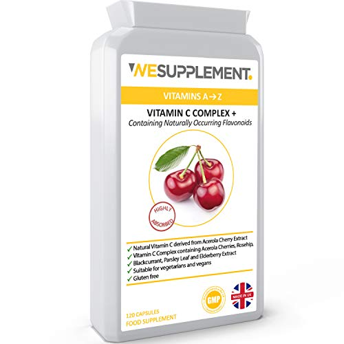 Acerola Cherry Extract 120 Vegan Capsules - Natural Vitamin C (Food Form) Complex - Enhanced with Rosehip, Elderberry, Parsley and Blackcurrant Extract - UK Made to The GMP Code of Practice