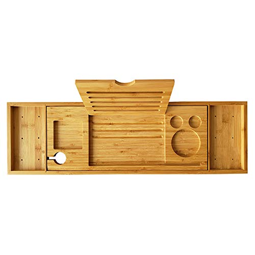 Bandeja organizadora de baño expandible para baño, bandeja de baño, estante de lectura ajustable con soporte para copas de vino, soporte para tableta, para la mayoría de baños de 75 a 95 cm