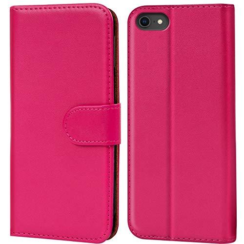 Verco iPhone 8 Hülle, Handyhülle für Apple iPhone 7, iPhone SE 2 (2020) Tasche PU Leder Flip Case Brieftasche - Pink