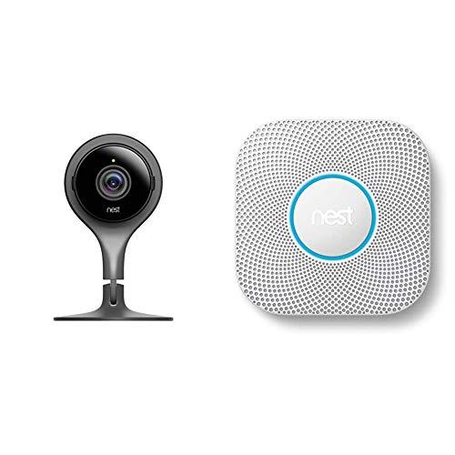 Nest Cam Indoor Videocamera di Sicurezza per Interni, Nero & Protect Rilevatore Di Fumo e CO, Bianco