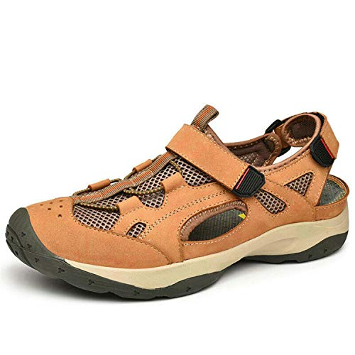 Mens Slingbacks Casual Pumps Summer Outdoor Flat Round Toe Climbing Sandals Hot Yellow Brown US7.5/8