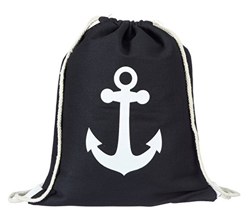 heimtexland Turnbeutel Maritim schwarz mit Anker weiß Gymbag Canvas Sport Rucksack Matchbeutel Stripes Strand Tasche Hipster Bag Typ538
