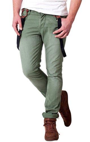 98-86 by Authentic Style Herren Hose Haka Hose mit Hosenträger Chino Freizeithose Stoffhose Baumwollhose, Farben:Washed Green;Größe:W29