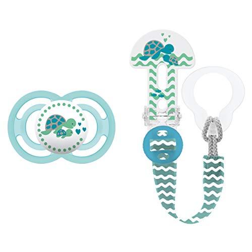 MAM Perfect Schnuller und Clip it! Schnullerband, Baby Schnuller beugt Zahnfehlstellungen vor, Schnullerhalter passend für Schnuller und Beißringe, 6-16 Monate, Schildkröte