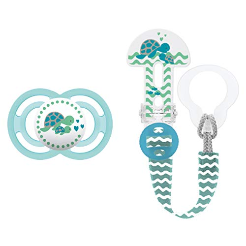 MAM Perfect Schnuller und Clip it! Schnullerband, Baby Schnuller beugt Zahnfehlstellungen vor, Schnullerhalter passend für Schnuller und Beißringe, 6-16 Monate, blau
