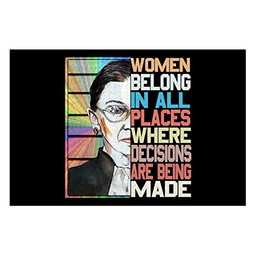 Wooden Puzzles Large Size 29.5 Lx19.7 W Inch Jigsaw Puzzles for Adults & Kids, Home Entertainment, Wall Hanging Poster (1000 Pieces Notorious RBG Feminist Quote Ruth Bader Ginsburg Puzzles)