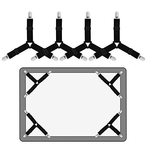 Sopito Bed Sheet Holder Straps, 4 PCS Bed Sheet Fasteners Adjustable Triangle Elastic Suspender Mattress Corner Clips with Heavy Duty Grippers Black