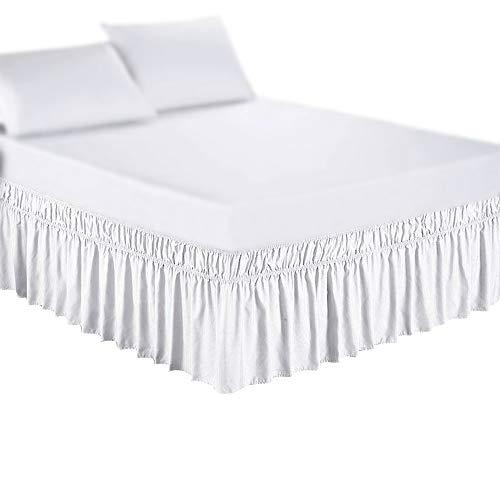 Falda de cama Falda de lados de tela alrededor de la falda elástica de la cama sólida, la banda elástica sin cama fácil en / Fácil de quitar el polvo con la caída a medida Para casa, hotel