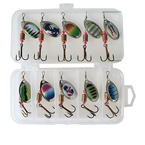10 Pcs Fishing Bait, Bass Salmon Fishing Bait Hook, Hard Metal Rotating Bait Kit Bait, with Fishing Tackle Box (Quick Arrival)