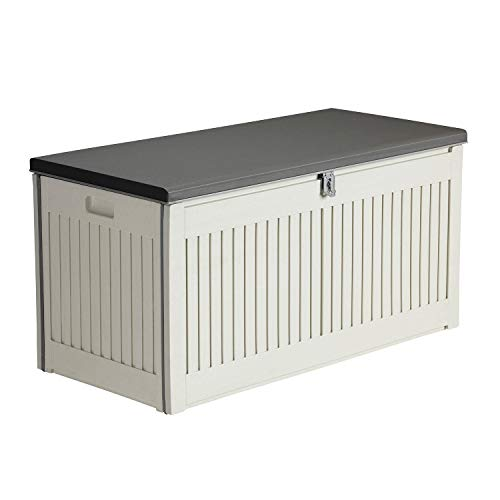 AIRWAVE Outdoor Plastic Garden Storage Box 270L - Plastic Storage Bench (109 x 52 x 55cm)