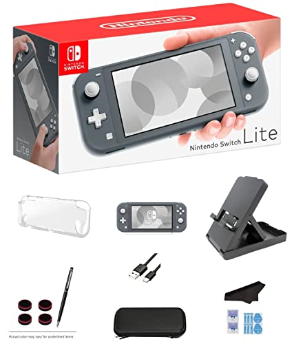 Nintendo Switch Lite - Gray Game Console with Extra External 64GB Storage, LCD Touchscreen, Built-in Plus Control Pad, WiFi, Bluetooth and GalliumPi Ultimate 12-in-1 Bundle