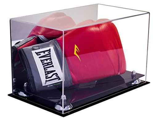 Better Display Cases Acrylic Single or Double Boxing Glove Display Case with Silver Risers and Mirror (A011-SR)
