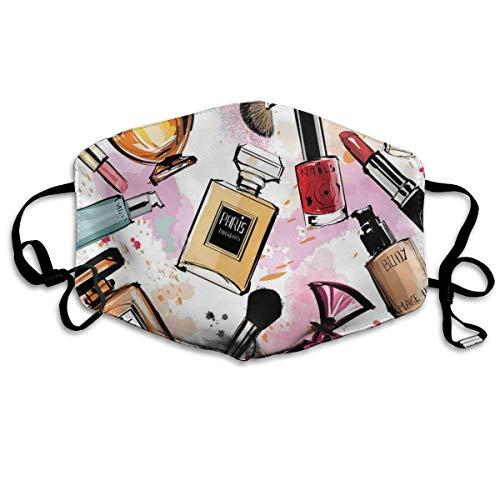 Mundschutz Atmungsaktive Gesichtsmundabdeckung Staubdichtes Kosmetik- und Make-up-Themenmuster mit Parfüm-Lippenstift-Nagellackpinsel im modernen Stil, Gesichtsdekorationen