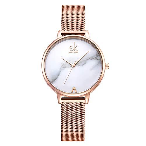 SHENGKE- Reloj de Pulsera para Mujer, Correa de Malla, Elegante, para Mujer, Estilo Simplicidad (K0039-rosegold-mesh Band)