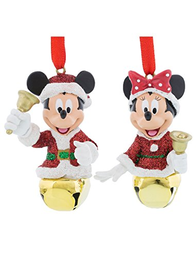 Disney Parks Santa Mickey and Minnie Mouse Jingle Bells Ornament Set of 2