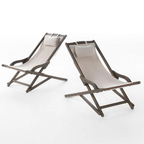 Christopher Knight Home Nikki Outdoor Wood and Canvas Sling Chairs, 2-Pcs Set, Beige