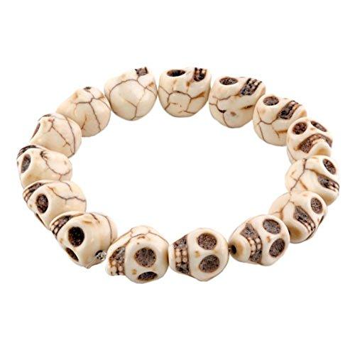 LovelyJewelry Tibetan Prayer Multi Color Skull Beads Handmade Bracelets for Girls for (Synthetic Crystal)