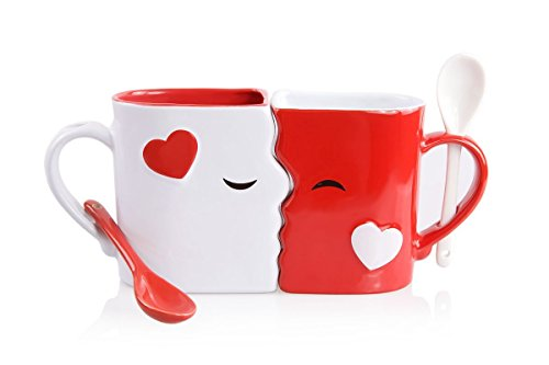 Kissing Mugs Set, Exquisitely Crafted Large Red & White Cups & Matching Spoons for Couples, Him and Her for Valentine's Day, Wedding, Anniversary, Birthday, Christmas, Mr & Mrs Home Decor by Blu Devil