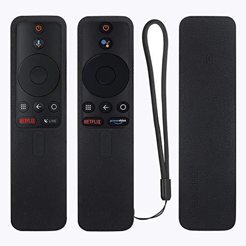 Protective Silicone Remote Case for XIAOMI MI Box S Remote Cover Shockproof Remote Holder for MI Box S Remote Anti-Slip Anti-Lost with Lanyard (Black)