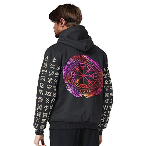Toomjie Heren Long-Sleeve Volledige Zip Up viking vikingPrinted Plus Fluwelen Hooded Sweater Winter Workout Hoodie Bovenkleding Tops met Hood