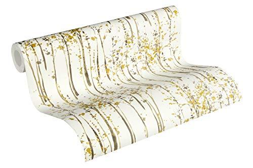 A.S. Création Vliestapete Scandinavian 2 Tapete mit Baum Muster 10,05 m x 0,53 m gelb grau weiß Made in Germany 957862 95786-2