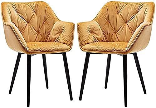 VEESYV Juego de 2 sillas de comedor, sillas de cocina, sillas de salón, esquineras, sillas de recepción de terciopelo con respaldo y asiento acolchado (color dorado)