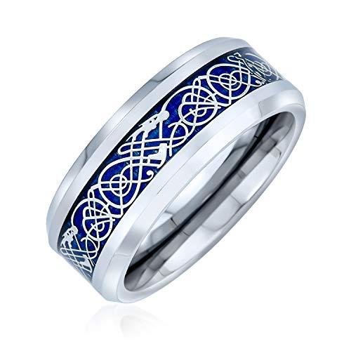 Bling Jewelry Azul Plata Tono Celta Nudo dragón Inlay Parejas Titanium Anillos de la Banda de Boda para los Hombres para Las Mujeres Comodidad Ajuste 8MM