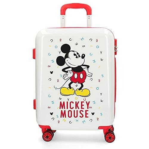 Disney Mickey Style Maleta de cabina Blanco 37x55x20 cms Rígida ABS Cierre combinación 37L 2,6Kgs 4 Ruedas Dobles Equipaje de Mano
