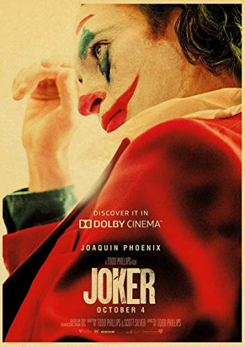 linbindeshoop Joaquin Phoenix Joker DC Movie Comics Wall Art Painting Print On Coffee Retro Poster Pictures Halloween Home Decor (LW-2240) 40x60cm No frame
