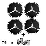 4enjoliveurs noirs avec logo Mercedes, 75mm,classe A, B, C, E, CLK, GL, M, ML, SLK, pour roues en alliage