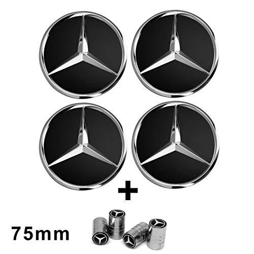 4 centros de tapacubos para llantas de aleación, con logotipo negro de Mercedes de 75 mm, Clase A, B, C, E, CLK, GL, M, ML, SLK
