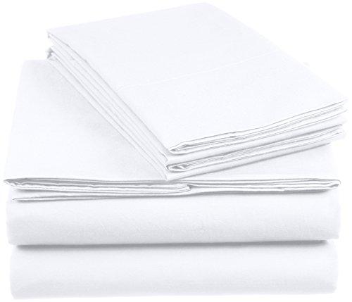 Amazon Basics AB 200TC Cotton - Light, 100% Algodón, Blanco, 260 x 240 cm & 2 Fundas 65 x 65 cm